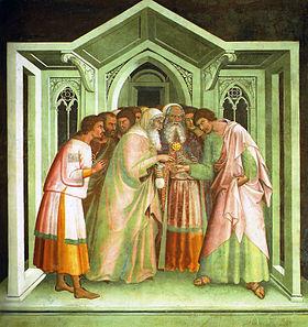 2014 Judas bargaining with chief priests Lippo Memmi 14th C