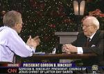 President Gordon B. Hinckley talks to Larry King on his CNN television show which was broadcast from the LDS Conference Center in Salt Lake City, Sunday Dec. 26, 2004. (photo courtesy CNN ) (Submission date: 12/26/2004)